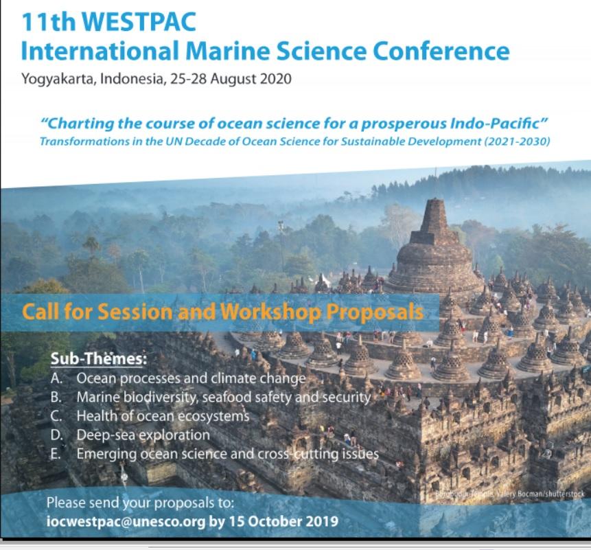Thông báo thứ nhất Hội thảo Khoa học biển Quốc tế IOC/WESTPAC Lần thứ 11 tại Indonesia tháng 8 năm 2020